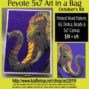 Monthly 5×7 Beadwoven Art in a Bag October Elephant