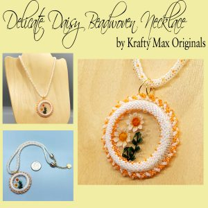 Delicate Daisy Beadwoven Wearable Art Necklace