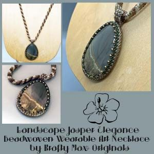 Landscape Jasper Elegance Beadwoven Wearable Art Necklace