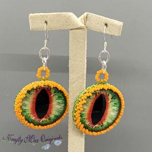 Green Dragon Eyes Beadwoven Earrings