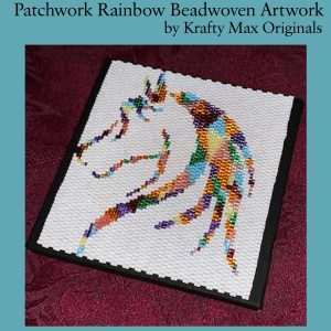Patchwork Rainbow Beadwoven Artwork