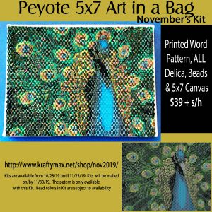 Monthly 5×7 Beadwoven Art in a Bag October Peacock
