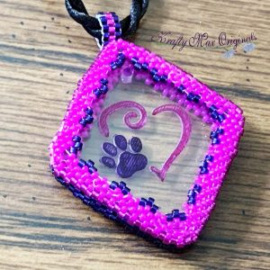 Pink Heart and Purple Paw Beadwoven Necklace