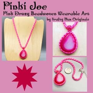 Pinki Joe Pink Druzy Beadwoven Wearable Art Necklace