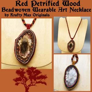 Red Petrified Wood Beadwoven Wearable Art Necklace