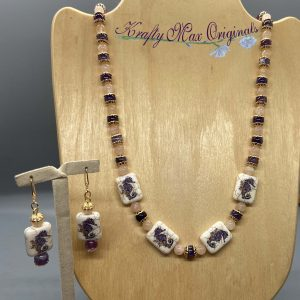 Amethyst and Pink Gemstones and Seahorses Necklace Set