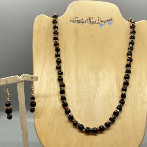 Black Onyx and Red and Green Swarovski Crystal Necklace Set