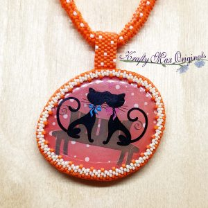 Orange Love Cats Beadwoven Necklace