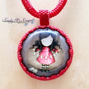 Paper Doll Girl Beadwoven Wearable Art Necklace