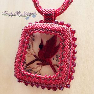 Red Cardinal Beadwoven Wearable Art Necklace