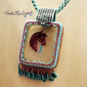 Teal Horse with Feathers Beadwoven Necklace