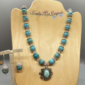 Turquoise and Swarovski Crystal with Vintage Drop from Grandmothers Stash Necklace Set