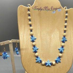 Blue Starfish Gemstone and Swarovski Crystal Necklace Set