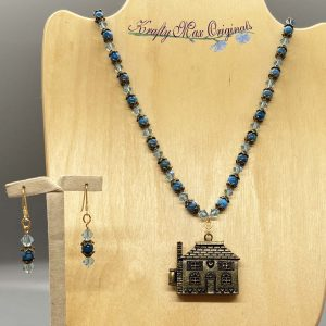 Blue Swarovski Crystal and Gemstone with Open House