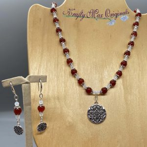 Burnt Orange Gemstone and Glass Beads with Mandalas Necklace Set