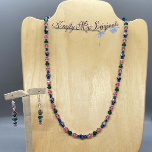 Closinine with Blue Green and Pink Swarovski Crystal Necklace Set