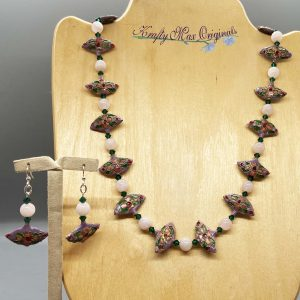 Lavender Closinine Fans with Gemstones and Swarovski Crystals Necklace Set