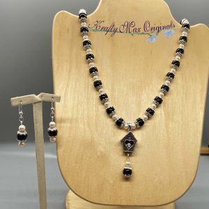 Pearls Blue and Bird House Necklace Set