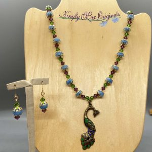 Pink Blue and Green Peacock Necklace Set
