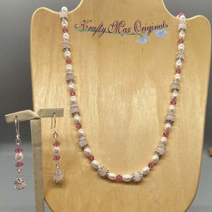 Pink Pearls and Swarovski Crystals Necklace Set