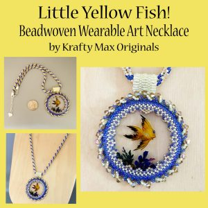 Little Yellow Fish Beadwoven Wearable Art Necklace