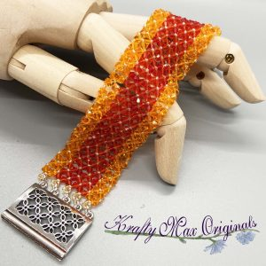 Orange Swarovski Crystal Beadwoven Bracelet
