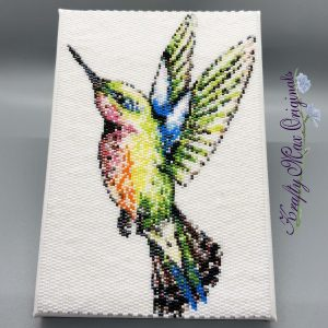 Hummingbird Beadwoven 5×7 Wall Art – Sample for April 2020 Kit
