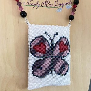 Butterfly and Heart Beadwoven Bag