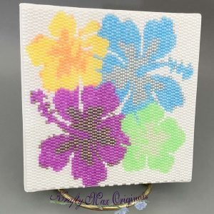 Hibiscus Beadwoven 4×4 Wall Art – Sample for May 2020 Kit
