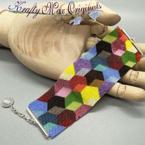 Baby Blocks Quilt Beadwoven Bracelet