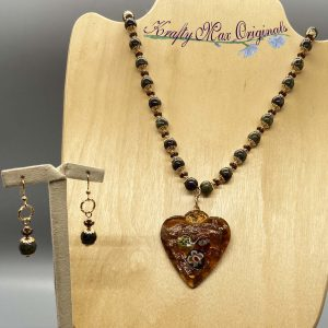 Glass Heart and Gemstone Necklace Set