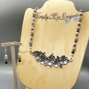 Green Purple and Pearl Flowers Necklace Set