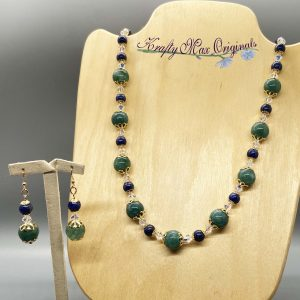Green and Blue Gemstone and Swarovski Crystal Necklace Set
