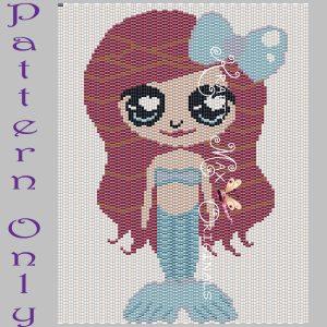 Little Mermaid Inspired 5×7 Kawaii Drawing Art PATTERN ONLY