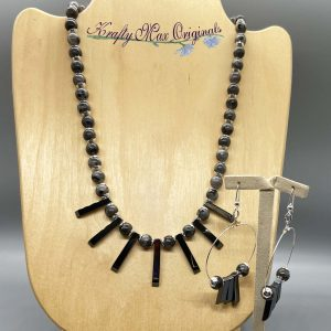 Marcasite Drops and Gemstone Necklace Set