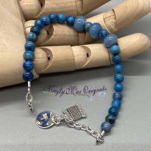 Ocean Blue Gemstone Bracelet with Thread Charm
