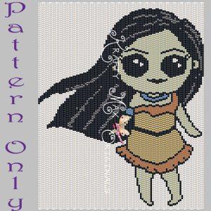 Pocahontas Inspired 5×7 Kawaii Drawing Art PATTERN ONLY