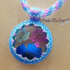 Pressed Flowers (Pink Blue Green) Beadwoven Necklace