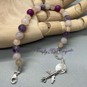Purple Gemstone with Airplane Charm Bracelet