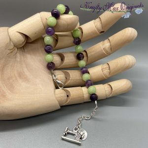 Purple and Lime Gemstone Bracelet with Sewing Machine Charm
