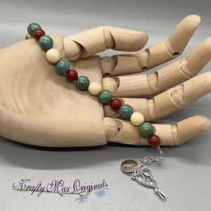 Teal Red Ivory Gemstones with Scissors Bracelet