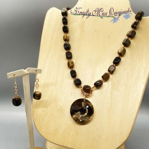 Tigereye and Bronze Necklace Set