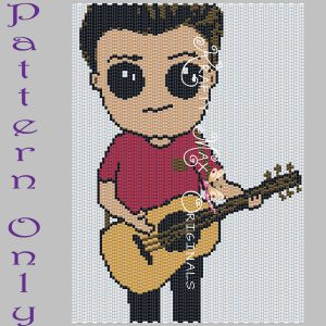 Boy with Guitar 5×7 Kawaii Drawing Art PATTERN ONLY