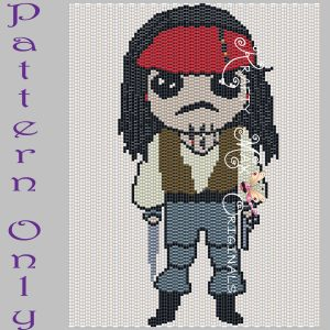 Jack Sparrow 5×7 Kawaii Drawing Art PATTERN ONLY