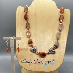 Orange Gemstone and Sterling Silver Hearts Necklace Set
