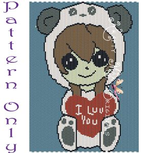 Panda Girl 5×7 Kawaii Drawing Art PATTERN ONLY