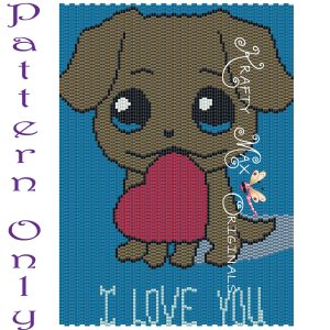 Puppy Love 5×7 Kawaii Drawing Art PATTERN ONLY
