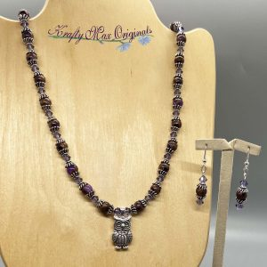 Purple Owl Gemstone and Swarovski Crystal Necklace Set