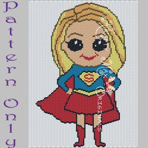 SuperGirl Inspired 5×7 Kawaii Drawing Art PATTERN ONLY