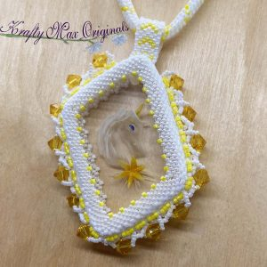 Yellow Unicorn Beadwoven Wearable Art Necklace